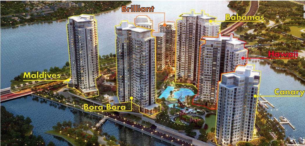 Các tòa tháp dự án Đảo Kim Cương