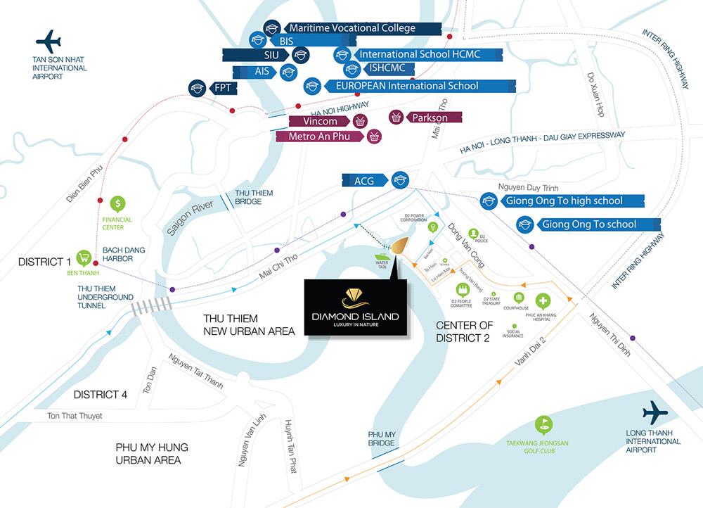 Vị trí dự án căn hộ Đảo Kim Cương